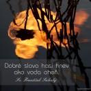 Dobré slovo hasí hnev ako voda oheň.
